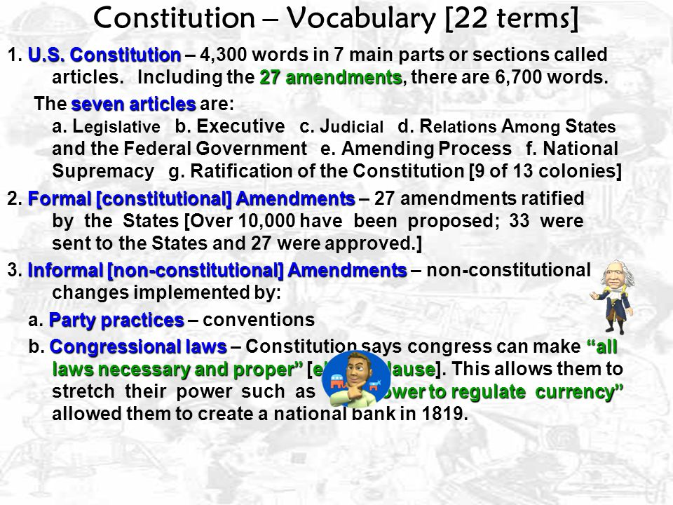 Constitution – Vocabulary [22 terms]